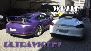 PO – Boxster Spyder White e 911 GT3 RS ultraviolet