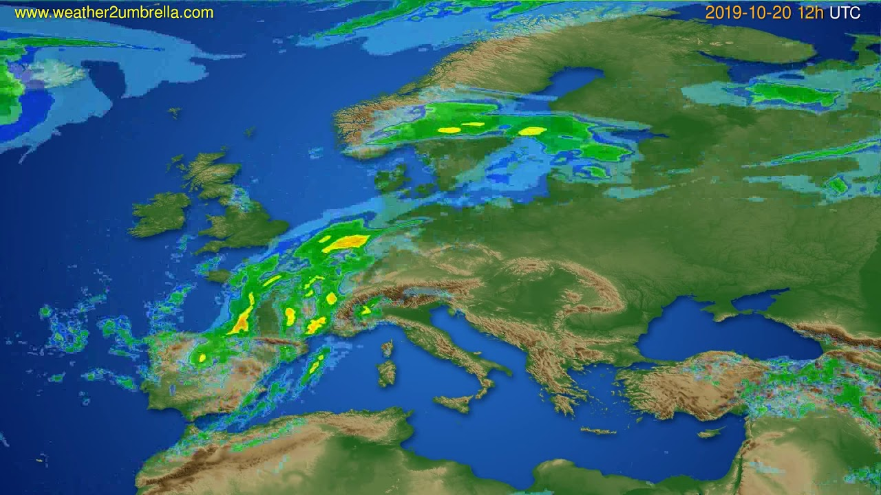 Radar forecast Europe // modelrun: 00h UTC 2019-10-20