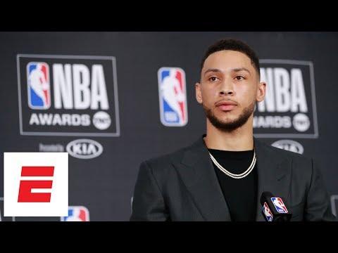 f7c49cd0560ecd Ben Simmons beats Donovan Mitchell for NBA Rookie of the Year   highlights trash talk speech