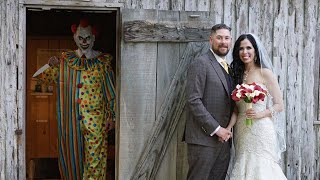 Scary Clown With Knife Photobombs Couple's Wedding Photo