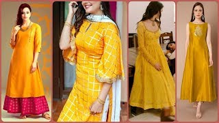 Outstanding Yellow & Golden Color Combination Dresses Ideas 2020