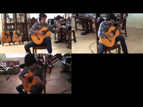 Short, repetitive nylon guitar piece using multiple video clips.