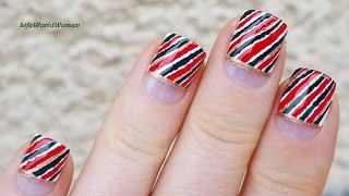 CHRISTMAS Wrapping Paper Inspired EASY TOOTHPICK NAIL ART