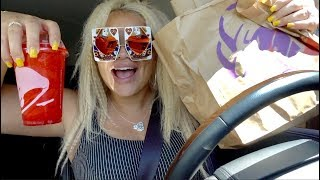 TACO BELL MUKBANG 2018! DRIVE THRU EATING SHOW! (TRYING SKITTLES FREEZE)