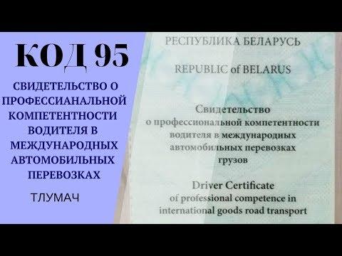 Получение белорусского Кода 95, СВИДЕТЕЛЬСТВО О ПРОФЕССИОНАЛЬНОЙ КОМПЕТЕНТНОСТИ ВОДИТЕЛЯ