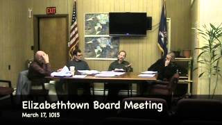 preview picture of video 'Elizabethtown NY March 17, 2015 Town Board Meeting'