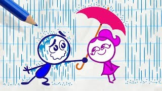 Pencilmiss Makes the Sun Shine -in- RAIN WOMAN - Pencilmation Cartoons for Kids