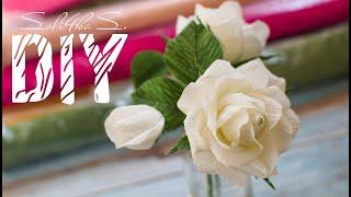 DIY Soli4ka_s Троянда з гофропаперу/ роза з гофробумаги/ Crepe Paper Rose