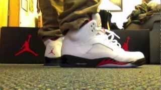 0e3c252fd88307 ... Air Jordan Retro 5 V Fire Red 2013 On Feet Review ...