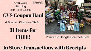 Gambar cover CVS Coupon Haul Deals Starting 8/19/18. Purchased 31 Items FREE & Plus MM