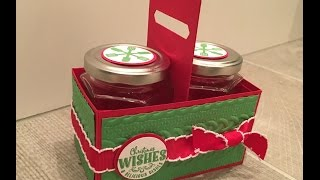 Handmade Gift Box For Two Jam Jars Using Yummy Little Christmas By Stampin Up