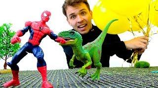 Человек Паук попал в мир Динозавров. Видео с игрушками.