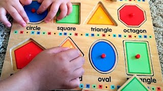 Learn shapes w/ fun wooden toy puzzle - Educational baby toddler kindergarten kids. Let