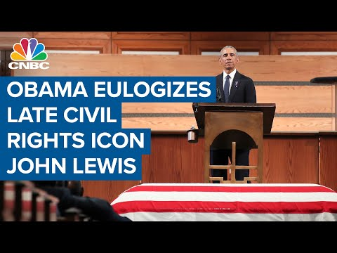 Fmr. President Barack Obama delivers remarks at civil rights icon, Rep. John Lewis's funeral