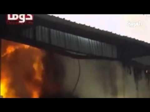 حرائق في دوما جراء قصف جيش النظام