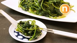 Easy Chinese Stir Fry Vegetables (Sweet Potato Leaves) [Nyonya Cooking]