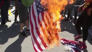 Protestors Burn American Flags Along Southern Border In San Diego