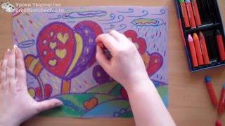 Смотреть онлайн Рисование масляной пастелью для детей