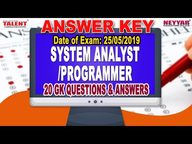 Kerala PSC Exam (25-05-2019) System Analyst/Programmer GK Questions