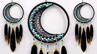 How To Make CRESCENT MOON Wall Hanging Dream Catcher || Room Decor Ideas | DIY Macrame Wall Hanging