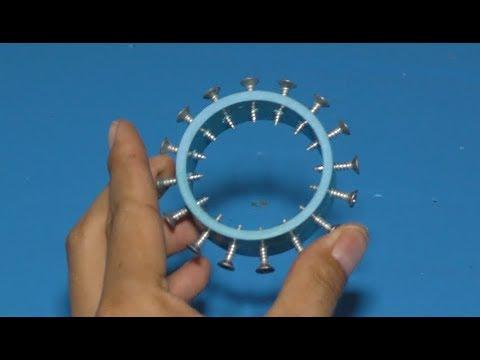 Amazing science school project 2018 , How to make DC motor using screws , Screw motor