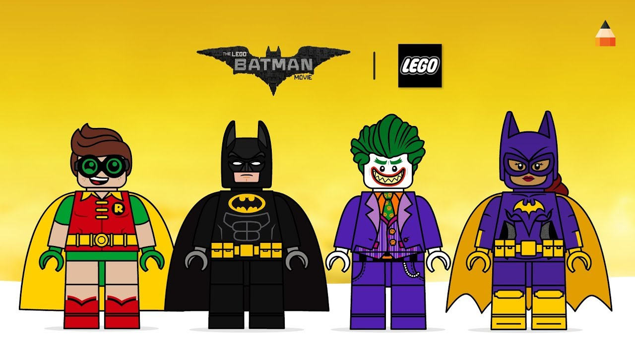 Drawing Lego Batman Lego Robin Lego Joker Lego Batgirl The Lego Batman Movie