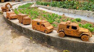 Membersihkan Mainan Mobil Polisi | Excavator Tayo Mobil Disney Crane dan Ambulans