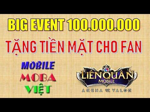BIG EVENT tri ân Fan theo dõi kênh Mobile MOBA Việt với số tiền thưởng lớn nhất