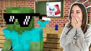 LA ESCUELA DE MONSTRUOS Y EL RETO DE LA BOTELLA (BOTTLE FLIP) | Minecraft Video Reacción