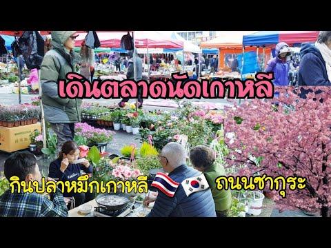 เดินตลาดนัดเกาหลี/EP.93/ดอกซากุระสวยๆ/กินข้าวกับโอปป้าเเละพ่อปูเเม่ย่า/คำศัพท์เกาหลี/เเม่บ้านเกาหลี