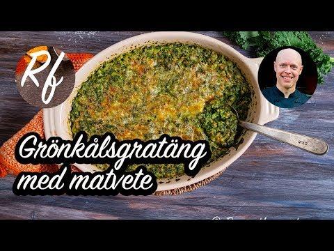 Laga en grönkålsgratäng med hackad grönkål, vitlök, kokt matvete, grädde, ost och hackad fryst färsk koriander.>