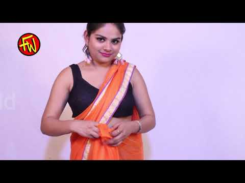 How to Wear Seedha Palla Saree  orange saree draping new style