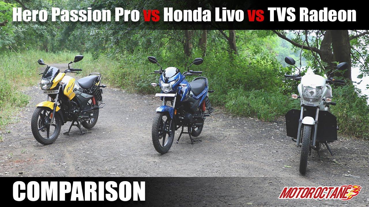 Motoroctane Youtube Video - New Hero Passion Pro vs Honda Livo vs TVS Radeon Comparison | Hindi | MotorOctane