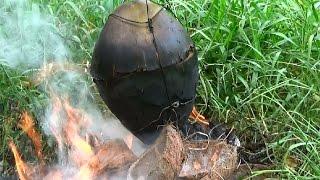 Gà nướng trái dừa biến tấu từ tôm luộc trái dừa