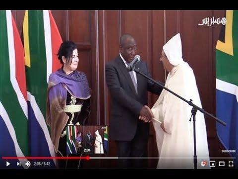 مراسم استقبال رئيس جنوب افريقيا ليوسف العمراني بعد تعيينه سفير مفوضا لدى البلد
