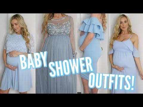 7 BABY SHOWER DRESSES | HELP ME DECIDE MY DRESS!