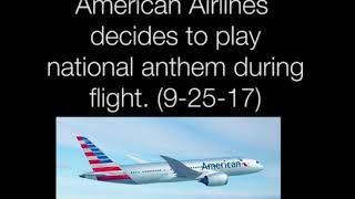American Airlines plays NATIONAL ANTHEM on FLIGHT!