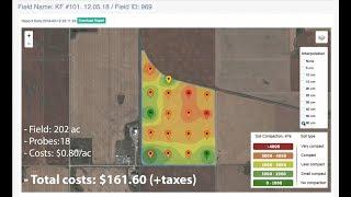 Soil compaction goes through the field. Regina, Saskatchewan. Digital penetrometer. MY AGRO