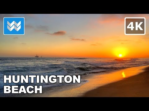 Sunset Walk at Huntington Beach, California 【4K】