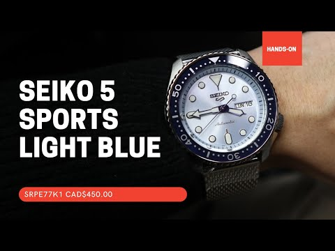 SEIKO 5 SPORTS AUTOMATIC WATCH IN LIGHT BLUE DIAL SRPE77K1