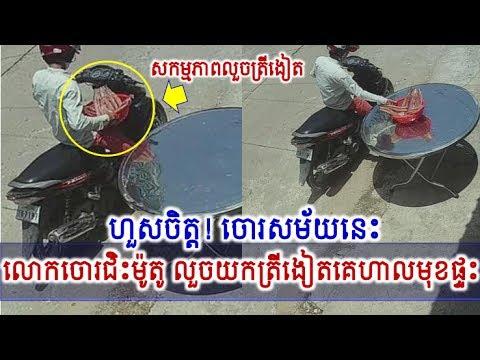 ហួសចិត្ត! កំពូលចោរជិះម៉ូតូលួចយកត្រីងៀតគេហាលមុខផ្ទះ,Khmer Hot News, Mr. SC Channel,