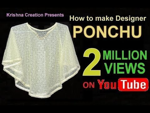 PONCHO - How to make Designer Poncho, English Subtitle डिज़ाइनर पोंचू कैसे बनाये By Krishna Creation