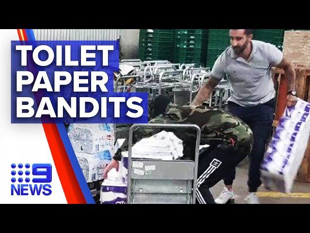Coronavirus: Two thieves steal hundreds of toilet paper rolls | Nine News Australia