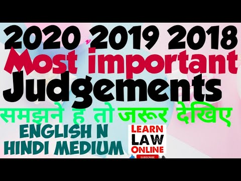 2020, 2019 & 2018 Most Important Recent Judgements by Learn Law Online