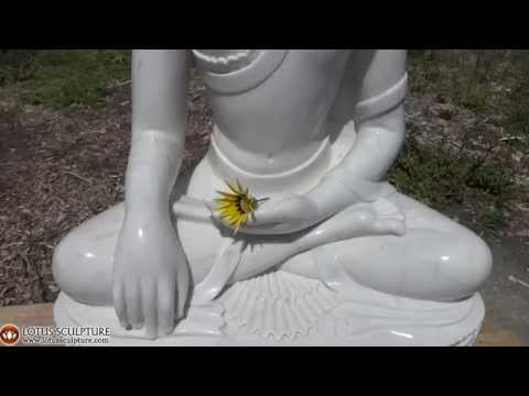 SOLD White Marble Earth Touching Buddha Statue 36