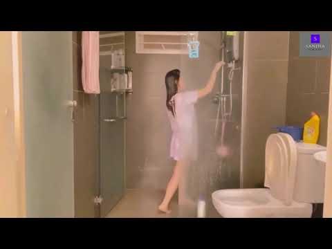 Beautiful girl ligo challenge girl shower no bra no penty open bath taking open bathroom white sando