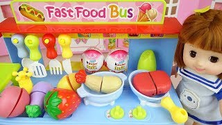 Food car shop and baby doll toys cooking play