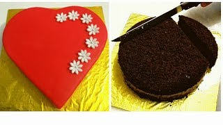 Heart Shaped Cake. How To Make HEART SHAPED CAKE Out Of Round Cake.  VALENTINES DAY CAKE