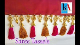 How to make saree kuchu at home    Making of Saree Tassel using bells, stone, rings