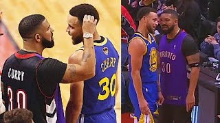 Stephen Curry Trash Talks Drake Then Drake Finds Lint In His Hair To Sell As A Troll After Game 1!